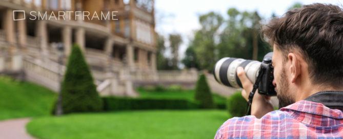 Man with DSLR taking photographs